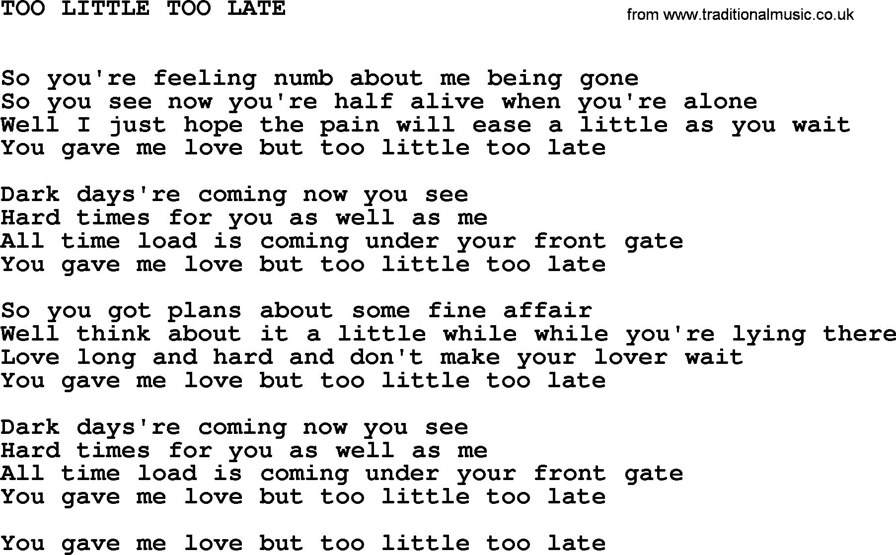 Too Late Love Lyrics