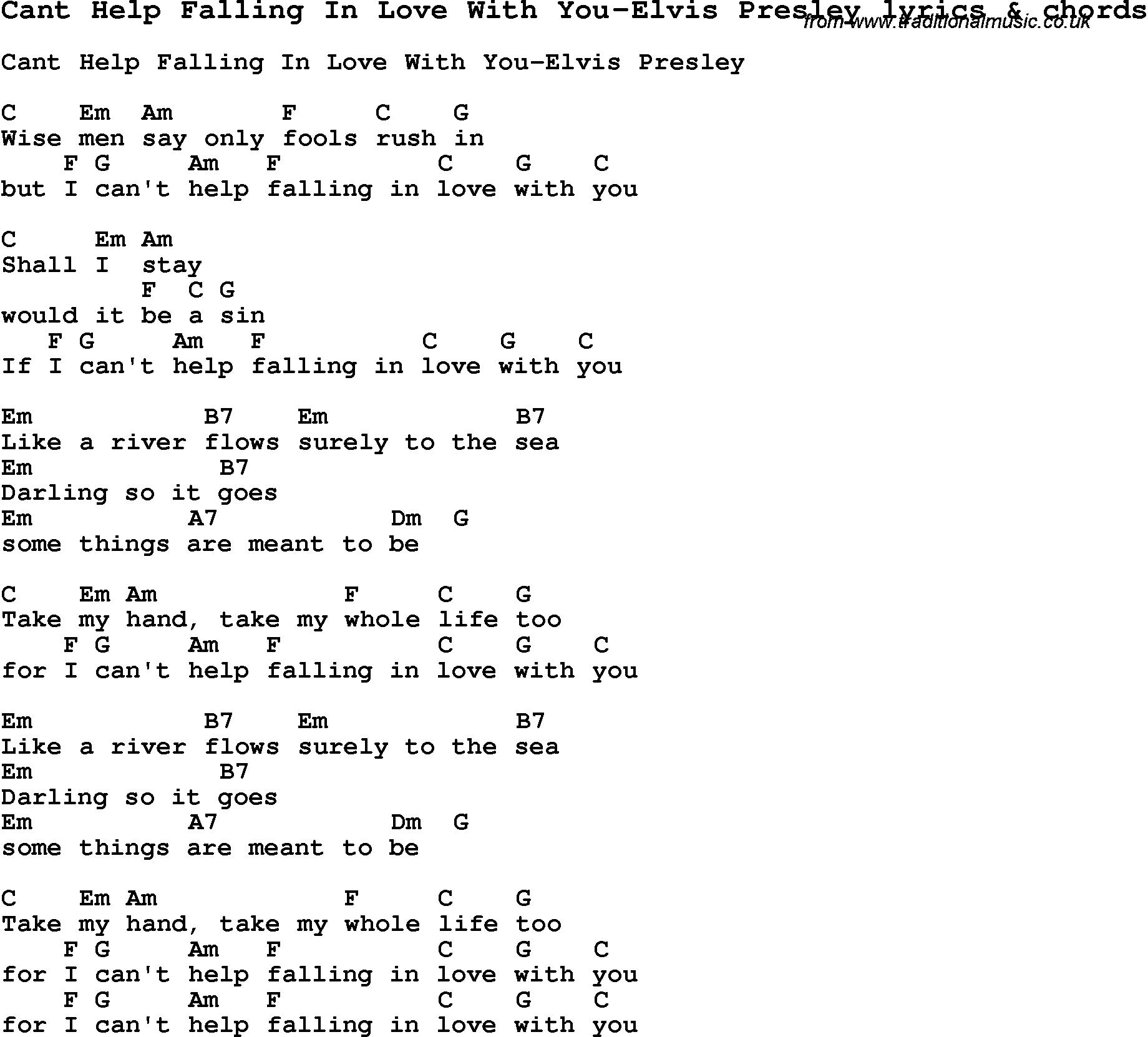 I Cant Help Falling Love You Chords