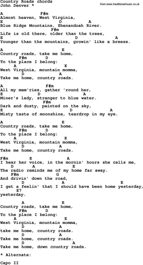 Song lyrics with guitar chords for Country Roads