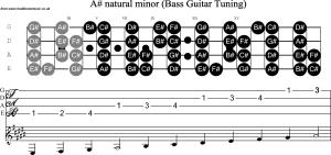 Bass Guitar Scale Bb Minor