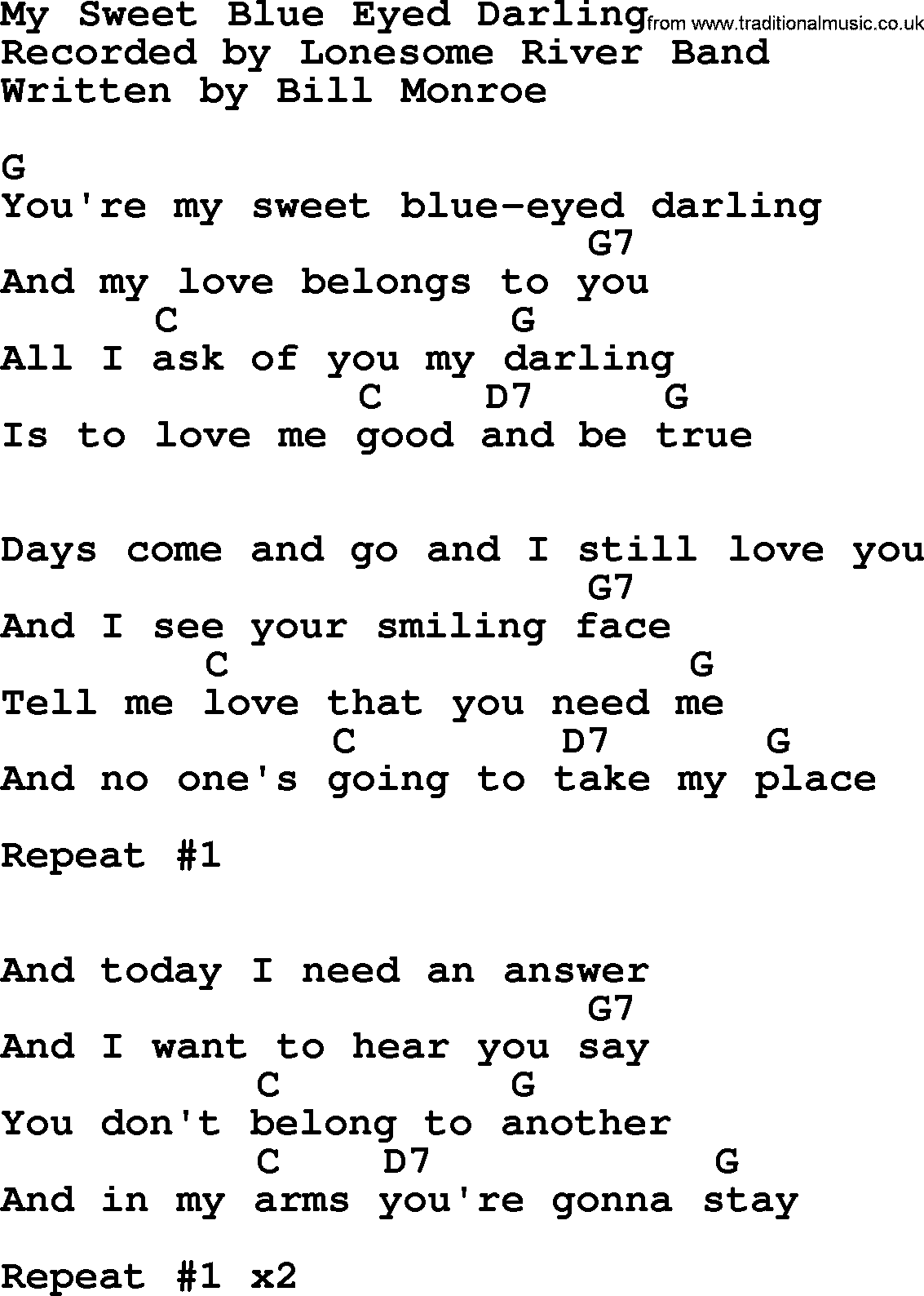 Bluegrass Song My Sweet Blue Eyed Darling Lyrics And Chords