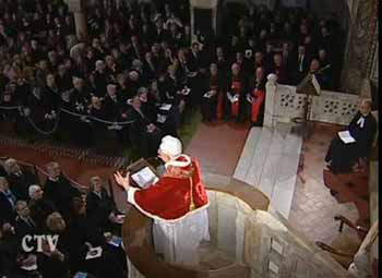 Benedict XVI at the Lutheran temple in Rome