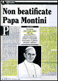 Paulo VI - Cardeal Montini - expulso de Roma por relações com o comunismo.
