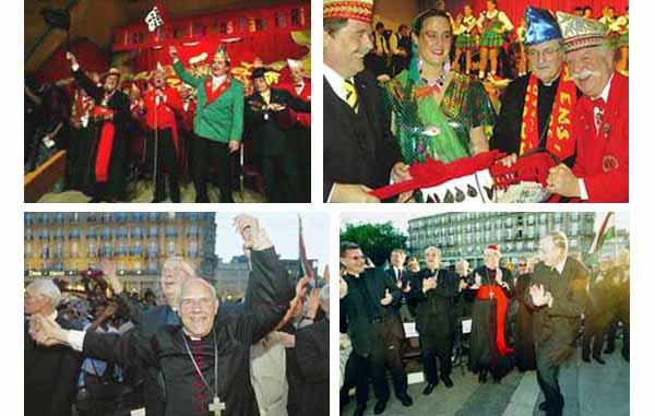 El Cardenal Meissner y su clero danzando en el Carnaval