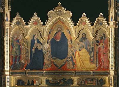 Our Lord flanked by Our Lady and various saints