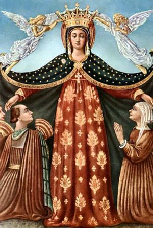 Our Lady protects all who come to her and ask her help [Image from http://www.traditioninaction.org]
