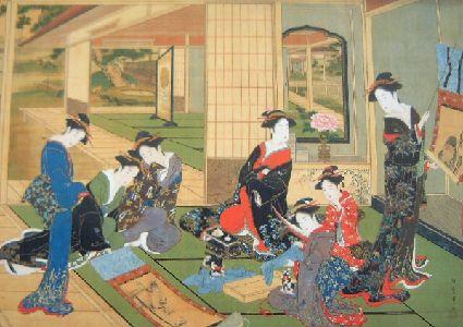 Stampa di Kitagawa Utamaro. Donne che fanno il cambio di stagione.