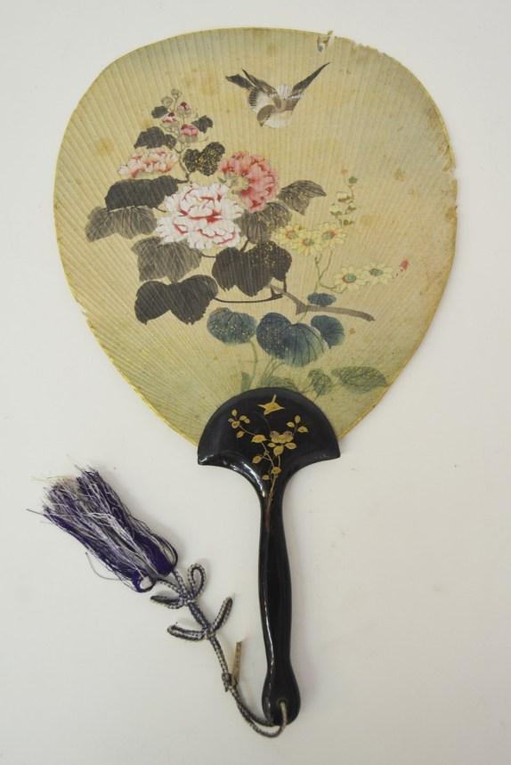 Uchiwa, ventaglio rigido di seta, dipinto ad ac_r