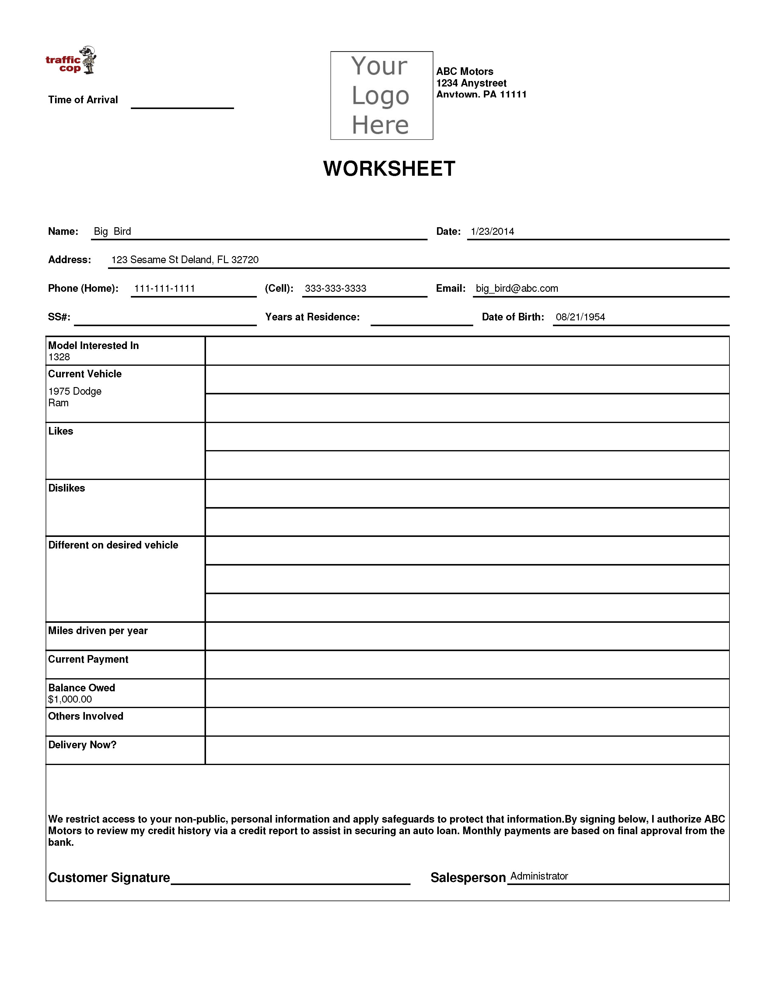 Worksheets Traffic Control