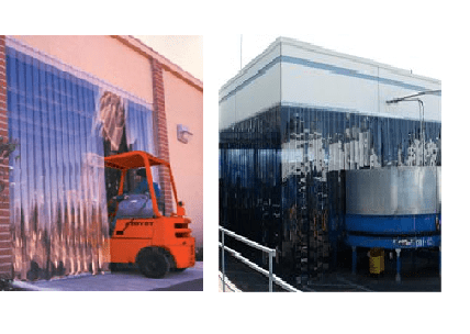 Warehouse Door Strip Curtain Enclosure With Plastic Curtains Large In Refrigerated Produce Los Angeles California