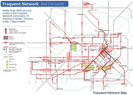 the METRO's Frequent Network map