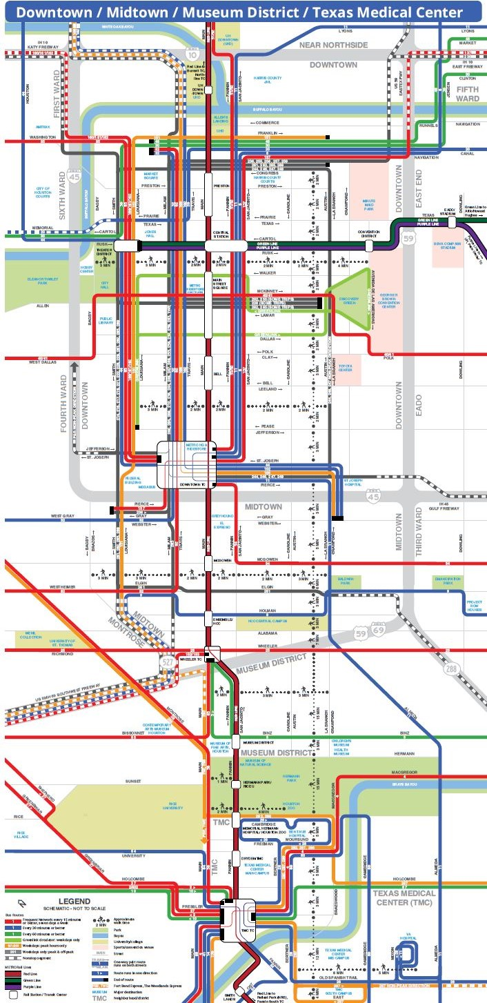 Map Of Texas Medical Center.Tei Traffic Engineers Inc Metro S New Bus Network System Map