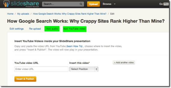 Slideshare add video feature