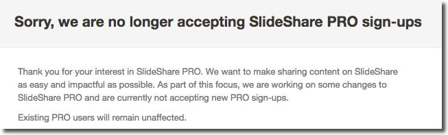 no Slideshare pro sign-ups