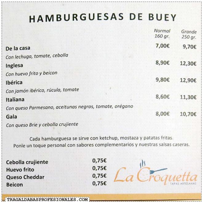 Tragaldabas Profesionales - Ruta de la Hamburguesa en Madrid - La Croquetta - Bacon Cheese Burger - Carta