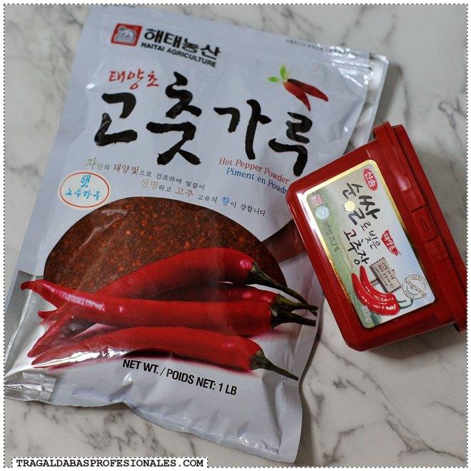 Tragaldabas Profesionales - Sopa coreana kimchi jjigae - Pasta y copos de pimiento picante