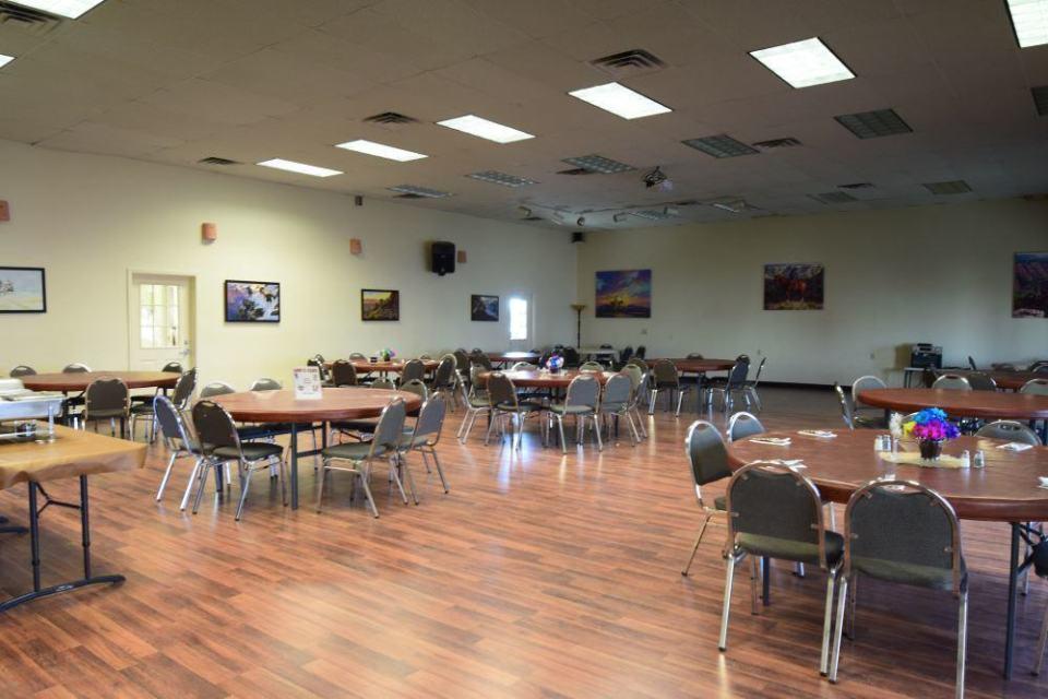 The dining room, enchiladas on the menu tonight.