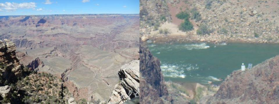 Colorado River: wide angle on the left, full zoom on the right.