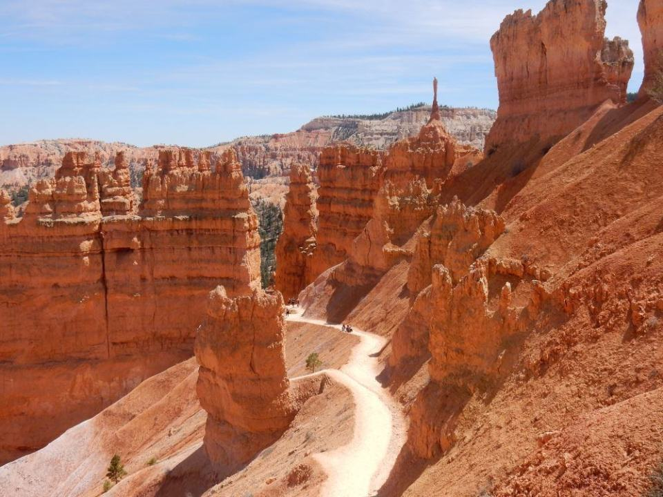 Looking down at the hike in Bryce canyon, 3 miles down to the valley floor and back up.
