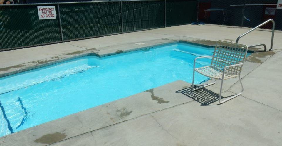 "We will spare you the blooded bathroom pictures. Instead, here is the ""swimming pool"" in all its glory."