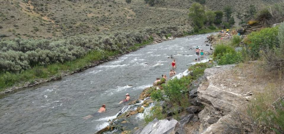 Here folks are making their way down the Gardner River. We went a bit farther than these folks.