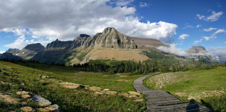 Looking back at Piegan, Pollock, & Bishops Cap on the Hidden Lake Trail Boardwalk
