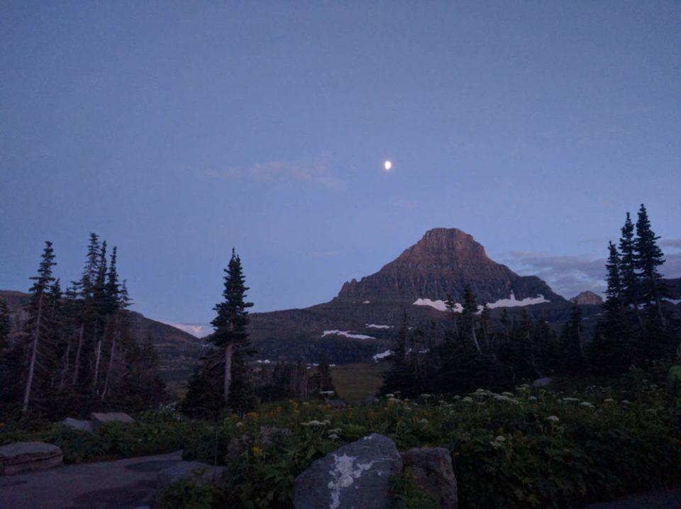 Moon at Logan Pass