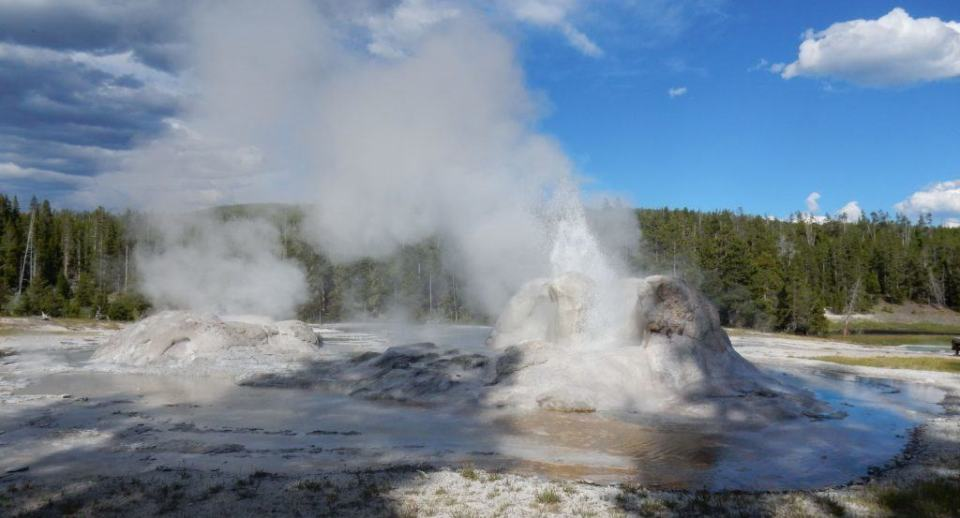 Steaming geysers in Yellowstone.