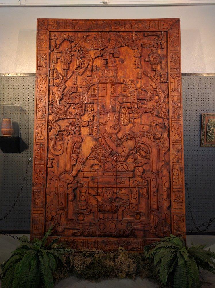 Wood Replica of Mayan UFO Art