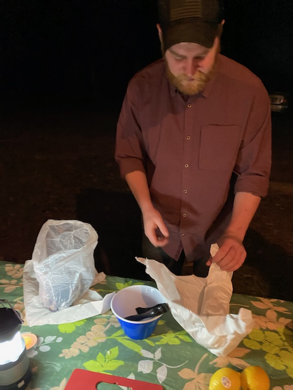 photo of eating at a campsite