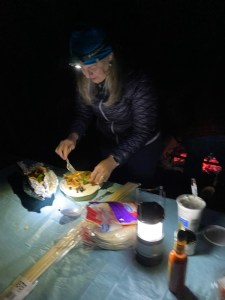 a woman cooking at night