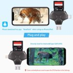 Trail Camera Viewer SD Card Reader, Memory Card Adapter 4 in 1 Compatible with iPhone, iPad, Mac, Android, Photo Video Viewer Portable forWildlife Scouting Game Camera