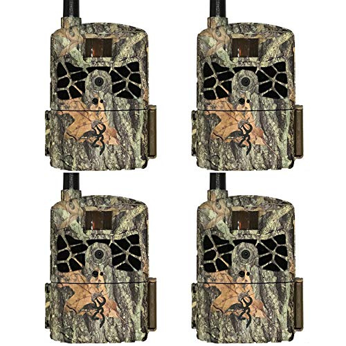 Browning Trail Cameras Defender 20MP 80 Ft. Long Range Infrared Cellular Wireless Game Trail Camera, Camo (4 Pack)