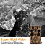 CLOBO Trail Camera- Waterproof 20MP 1080P Game Camera with Night Vision Motion Activated 0.2s Trigger Speed 3PIR 48IR LEDs 120° Detecting Range CamsTime Lapse for Wildlife Monitoring Home Security