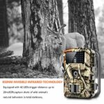 WOSPORTS Trail Game Camera, 1080P Waterproof Hunting Scouting Cam for Wildlife Monitoring with Night Vision 2.4″ LCD IR LEDs 88W