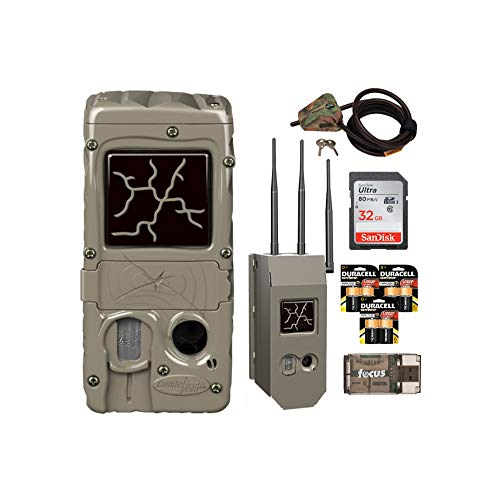 Cuddeback G-Series Powerhouse IR 20MP Trail Camera with Max Field Life Bundle: Includes Cam, Case, Cable Lock, Batteries, Card and Reader (8 Items)