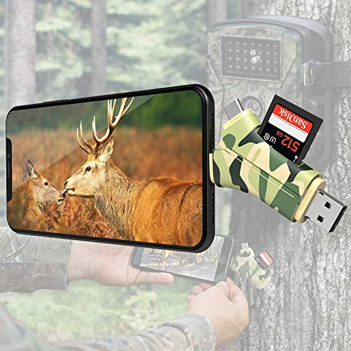 Green Card Reader 4 in 1 Trail Camera Viewer for Game Camera.E-thinker Memory Card Reader-Trail Hunter View Hunting Photos,Videos or Any Wildlife Game Camera on Smartphone for iPad Mac & Android,SD