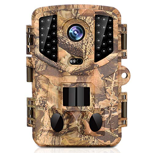Trail Camera, 16MP Full HD Night Vision 1080P Wildlife Hunting Camera with 3 Infrared Sensors, Time Lapse and 0.2s Trigger Speed Wildlife Scouting Camera, Waterproof IP66