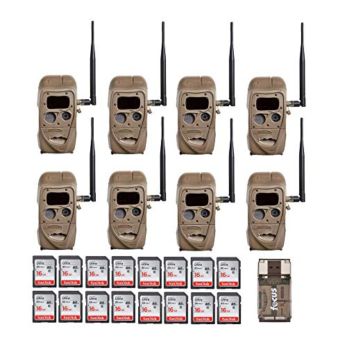 Cuddeback CuddeLink J Series J-1422 Black Flash 20MP Trail Camera 8-Pack with 16 Memory Cards and Focus Reader