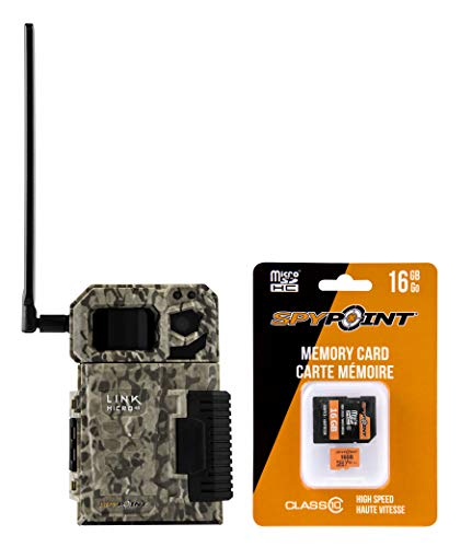 SPYPOINT Link Micro with 16GB MicroSD (Smallest on The Market!) Wireless/Cellular Trail Camera, 4 Power LEDs, Fast 4G Photo Transmission w/Preactivated SIM, Fully Configurable via App (VZN Version)