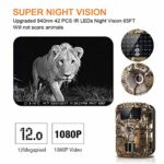 """WOSPORTS Trail Camera Full HD 1080P Hunting Game Camera, 940nm Motion Activated Night Vision 65ft, Waterproof Scouting Cam 2.4"""" Wireless Video Camera for Wildlife Monitoring/Home Security,88E"""