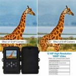 KTYX Game Camera,12MP 1080P Hunting Wildlife Camera with Infrared Sensors IR LEDs Night Vision 0.2S Motion Activated IP66 Waterproof 2.4″ LCD Hunting Camera
