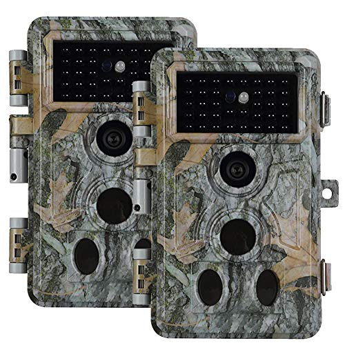 2pcs Folgtek Trail Camera Wildlife Cam Game Cam 16MP 1080P Night Vision Motion Activated, IP66 Waterproof, Password Protected, Short Trigger Time, 2.4″ LED