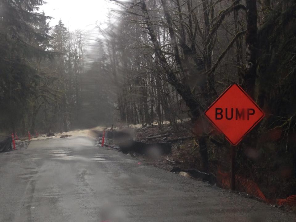 Our first view of the large Middle Fork Road washout at MP 9.9. Bump! Ha, you don't say!?