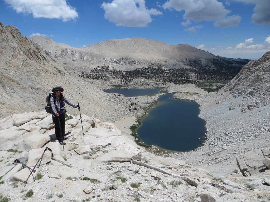 At the top of Old Army Pass with our camp below. We just had to descend the snow field and pack up before storms hit!