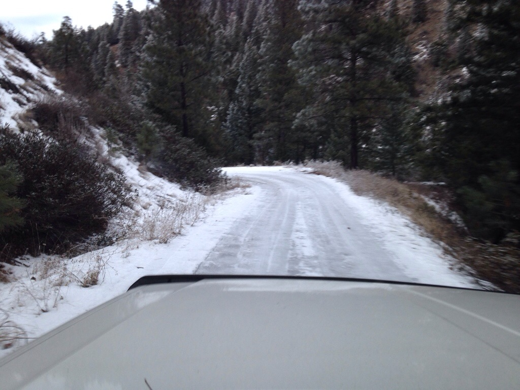 The road down was solid ice and several of the corners were not a good place to slide!
