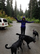 Rampart Ridge here we come! Look how happy we are to go on this crazy wet hiking adventure! I don't think we were smiling at the end until we were sitting at the North Bend Bar & Grill in front of the fireplace with beer.