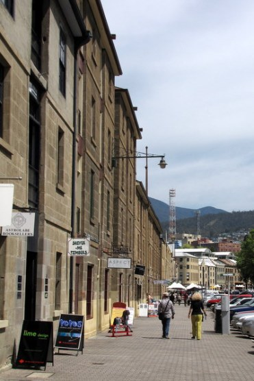 Salamanca with part of Mount Wellington in the background.
