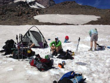 Setting up camp below Anvil Rock