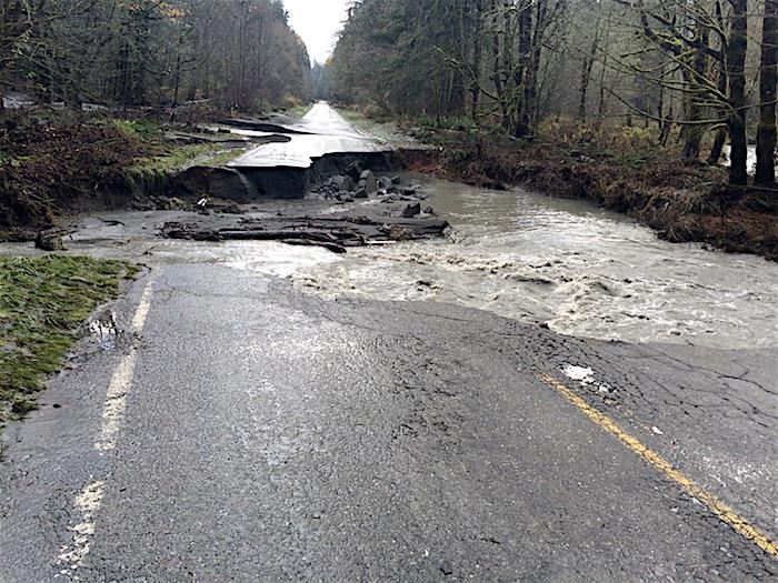 The Olympic Hot Springs Road was damaged during a November 2015 storm and remains closed at the Madison Falls parking lot. A temporary bridge is spanning the washout that allows pedestrians and bicycles access.